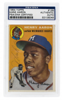 Hank Aaron Signed 1954 Topps #128 RC (PSA Encapsulated) at PristineAuction.com