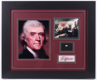Thomas Jefferson 19.5x23.5 Custom Framed Display with (1) Hand-Written Word From Letter (JSA LOA Copy)