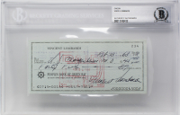 Vince Lombardi Signed 1968 Personal Bank Check (BGS Encapsulated) at PristineAuction.com