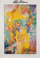 "LeRoy Neiman Signed Los Angeles Lakers ""Shaquille O'Neal"" 27x39 Neiman Lithograph (JSA COA) at PristineAuction.com"