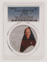2015-P Tuvalu Star Trek TNG Captain Jean Luc Picard $1 One Dollar Colorized Coin with Display (PCGS PR69DCAM)