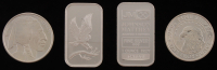 Lot of (4) 1 Troy Ounce .999 Fine Silver Bullion Bars & Rounds