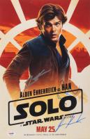 "Lawrence Kasdan, Jonathan Kasdan, & Alden Ehrenreich Signed ""Solo: A Star Wars Story"" 11x17 Movie Poster Print (PSA LOA) at PristineAuction.com"