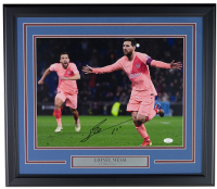 "Lionel Messi Signed FC Barcelona 19x22 Custom Framed Photo Display Inscribed ""Leo"" (ICONS COA & JSA COA) at PristineAuction.com"