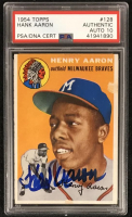 Hank Aaron Signed 1954 Topps #128 RC - Auto Graded PSA 10 (PSA Encapsulated) at PristineAuction.com