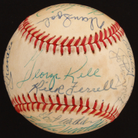 Baseball Hall of Famers OAL Baseball Signed by (21) with Mickey Mantle, Joe DiMaggio, Willie Mays, Harmon Killebrew (PSA LOA)