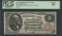 1882 $5 Five Dollars U.S. National Currency Large Size Bank Note - The American Exchange National Bank of New York (PCGS 10)