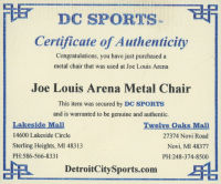 Genuine Joe Louis Arena Metal Folding Chair (DC Sports COA) at PristineAuction.com