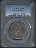 1839 50¢ Seated Liberty Half Dollar - Drapery (PCGS VF 35) at PristineAuction.com