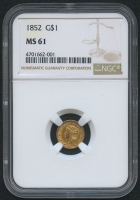 1852 $1 One Dollar Liberty Head Gold Coin (NGC MS 61)