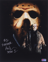 "Ari Lehman Signed Jason Voorhees 11x14 Photo Inscribed ""#1 Slasher"" & ""Jason 1"" (PA COA) at PristineAuction.com"