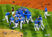 2016 Cubs World Series Champions 16x20 Photo Team-Signed by (26) with Kris Bryant, Anthony Rizzo, Ben Zobrist, Theo Epstein, Javier Baez (Schwartz Sports COA & Fanatics Hologram)