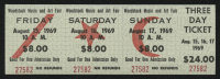Woodstock Authentic Unused Three-Day Ticket from August 15-17, 1969
