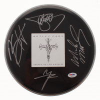 Motley Crue Logo Drum Head Signed by (4) Tommy Lee, Vince Neil, Mick Mars & Nikki Sixx (PSA LOA) at PristineAuction.com