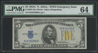 1934-A $5 Five Dollars North Africa Gold Seal Silver Certificate WWII Emergency Issue Bank Note (KA Block) (PMG 64) at PristineAuction.com