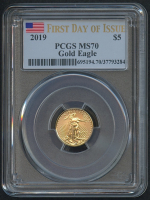 2019 $5 Five Dollars American Gold Eagle Saint-Gaudens 1/10 Oz Gold Coin (First Day of Issue) (PCGS MS 70)