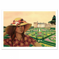 """Robert Vernet Bonfort Signed """"Chateau and Gardens"""" Limited Edition 21x29 Lithograph"""