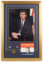 John F. Kennedy 18x26.5 Custom Framed Photo Display with (3) Pins & Bumper Sticker
