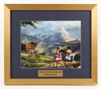 "Thomas Kinkade Walt Disney's ""Mickey & Minnie Mouse in the Alps"" 15.5x18 Custom Framed Print Display"