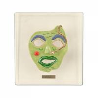 "George Marlowe Signed ""Alien #1"" 15x14x4 Custom Framed Original Hand Made Ceramic Mask Sculpture at PristineAuction.com"