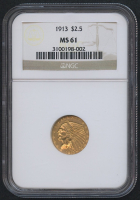 1913 $2.50 Indian Quarter Eagle Gold Coin (NGC MS 61)