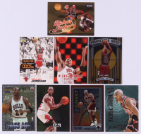 Lot of (8) Michael Jordan Basketball Cards with 1998-99 Bowman's Best Franchise Best #FB1, 1996-97 Ultra Board Game #7, 1996-97 Ultra Give and Take #5