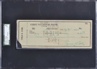 Ty Cobb Signed 1953 Personal Bank Check (SGC Encapsulated & JSA LOA)