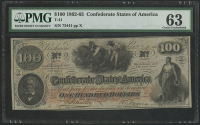 1862-63 $100 One Hundred Dollars Confederate States of America Richmond CSA Bank Note Bill (T-41) (PMG 63) at PristineAuction.com