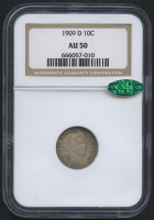 1909-D 10¢ Barber Dime (NGC AU 50) (CAC) at PristineAuction.com