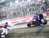 Christopher Bell Signed 2019 Chili Bowl Checkered Flag 11x14 Photo - 3rd Straight Chili Bowl Win (PA COA) at PristineAuction.com