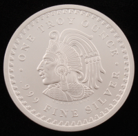 """1 Troy Ounce .999 Fine Silver """"Cuauhtemoc"""" Round at PristineAuction.com"""