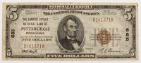 1929 $5 Five-Dollar U.S. National Currency Bank Note with Brown Seal (The Farmers Deposit National Bank of Pittsburgh, Pennsylvania)