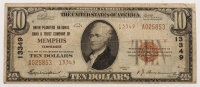 1929 $10 Ten-Dollar U.S. National Currency Bank Note with Brown Seal (Union Planters National Bank & Trust Company Of Memphis, Tennessee)