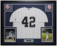 "Mariano Rivera Signed 35x43 Custom Framed Jersey Inscribed ""Enter Sandman"" (Beckett COA) at PristineAuction.com"