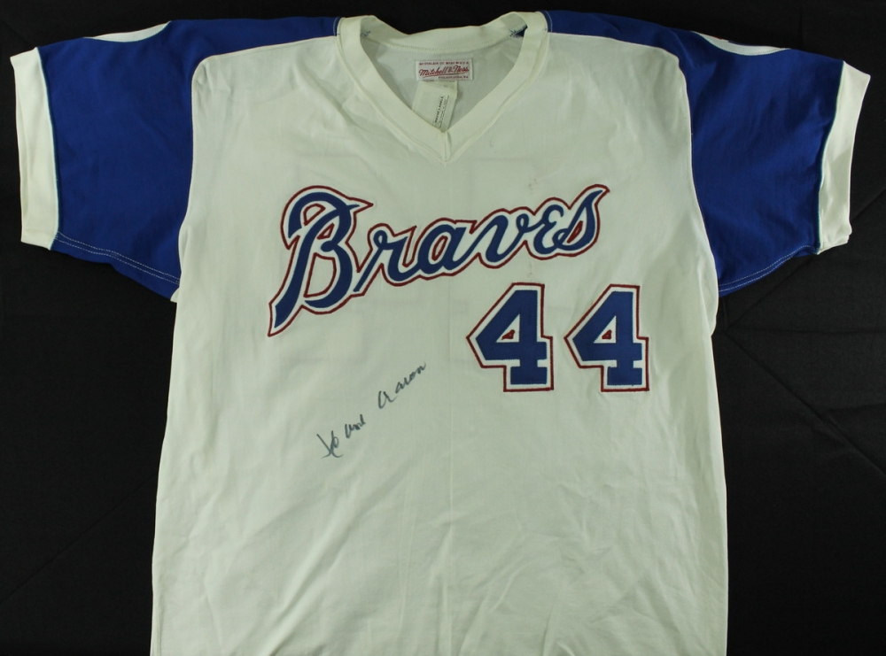 3e1cd5059 Hank Aaron Signed Braves Authentic Mitchell & Ness Cooperstown Collection  Jersey (JSA LOA) at