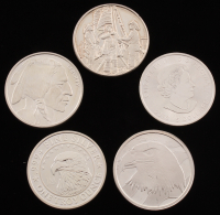 Lot of (5) .999 Fine Silver Bullion Rounds with (1) Ounce, & (4) Troy Ounce
