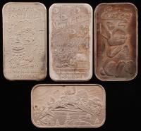 Lot of (4) .999 Fine Silver Bullion Bars with (2) 1 Ounce & (2) 1 Troy Ounce