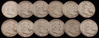 Lot of (12) 1948-1960 Franklin Half Dollar Coins