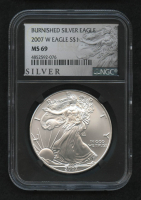 2007-W American Silver Eagle $1 One-Dollar Coin - Burnished (NGC MS 69) (Retro Black Holder)