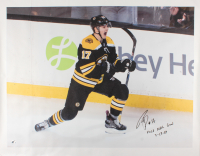 """Ryan Donato Signed Boston Bruins 34x43.5 Photo on Canvas Inscribed """"First NHL Goal 3-18-18"""" (Donato Hologram) at PristineAuction.com"""