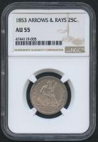 1853 50¢ Seated Liberty Half Dollar - Arrows & Rays (NGC AU 55)