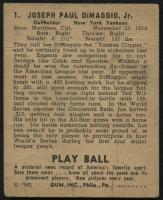 1940 Play Ball #1 Joe DiMaggio at PristineAuction.com
