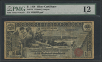 "1896 $1 One Dollar ""Educational Series"" U.S. Silver Certificate Large Size Currency Bank Note (PMG 12)"