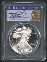 2019-S 1 oz Silver American Eagle $1 Coin - First Day of Issue - Signed by U.S. Mint AIP Master Designer Thomas S. Cleveland - Proof - Deep Cameo (PCGS PR 70 DCAM)