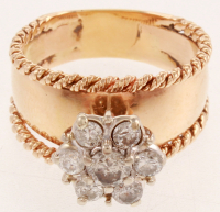 Vintage 14kt Two Tone, White & Yellow Gold Diamond Fashion Ring at PristineAuction.com