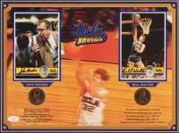 John Wooden & Bill Walton Signed UCLA Bruins 12x16 Custom Matted Postcard Display with (2) Coins (JSA COA)