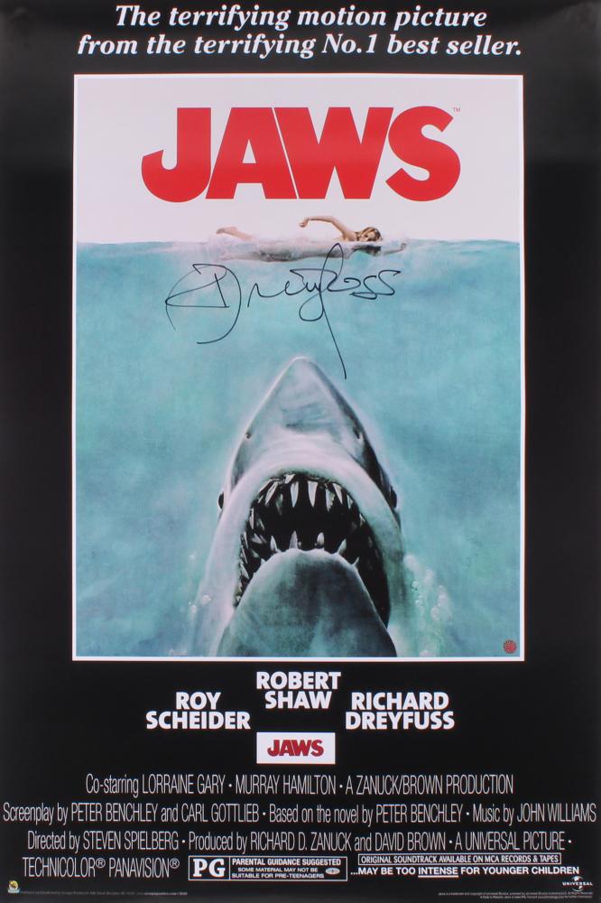 "Richard Dreyfuss Signed ""Jaws"" 24x36 Movie Poster (Dreyfuss Hologram) at PristineAuction.com"