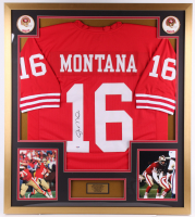 Joe Montana Signed San Francisco 49ers 32x36 Custom Framed Jersey Display (PSA COA)