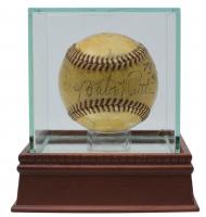 1942 War Bond Baseball Hand-Signed by (10) Including Babe Ruth, Eddie Collins, Tris Speaker, George Sisler, Walter Johnson, Honus Wagner with Display Case (JSA LOA)