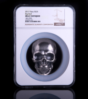 2017 Palau Silver 1/2 Kilo (16.06 oz.) $25 Big Skull with Antique Finish - 102/555 (NGC MS67)